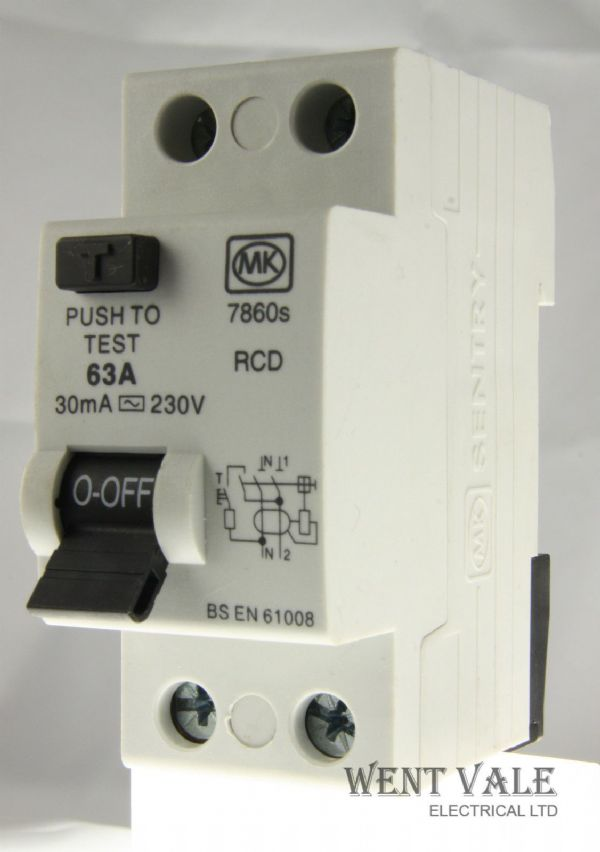 MK Sentry 7860s - 63a 30mA Double Pole RCD Used